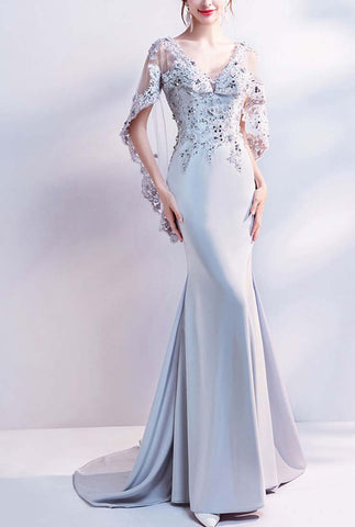 V-Neck Floor-Length Sequined Prom Dresses