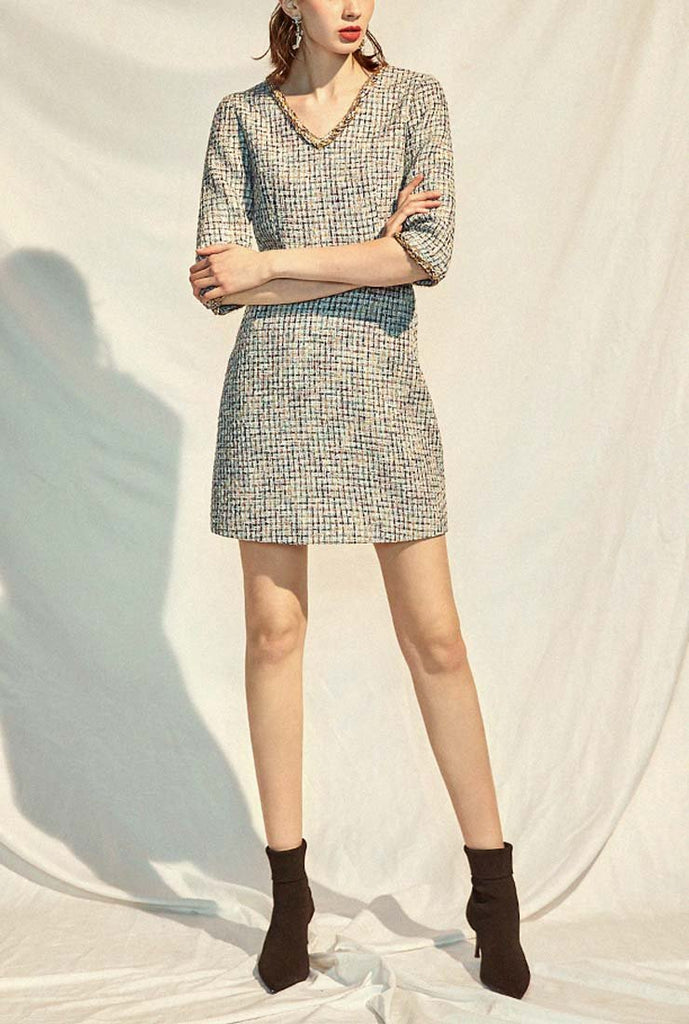 V-neck A-line Classic Style Tweed Mini Dress