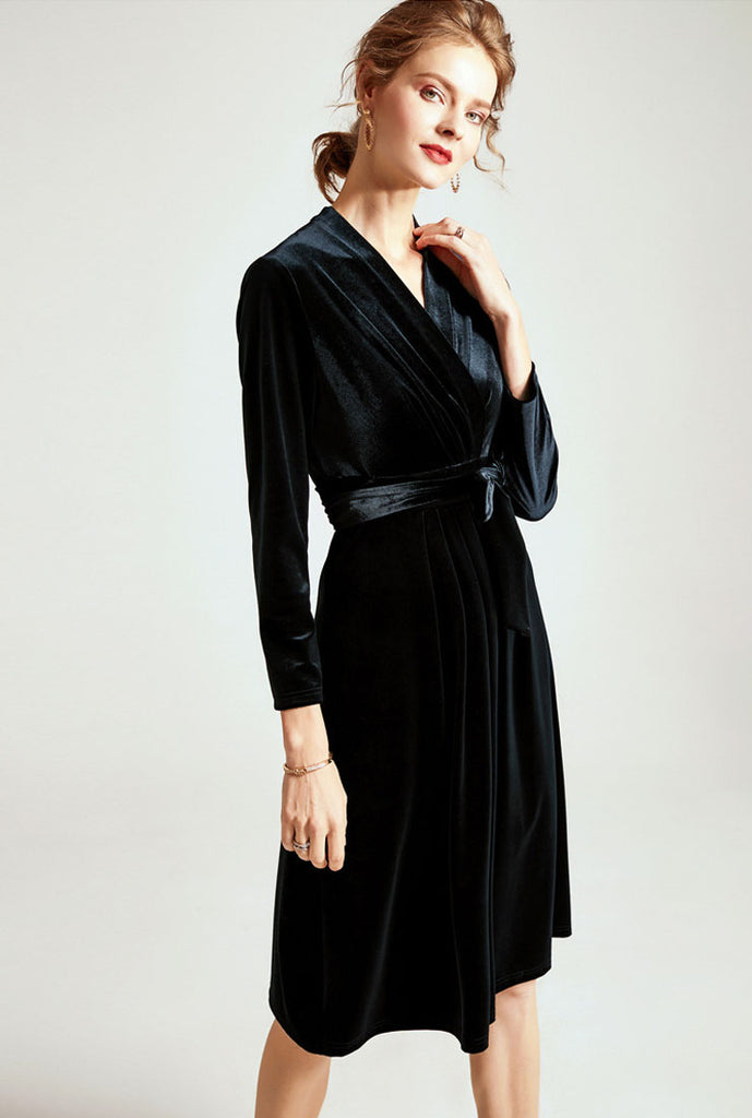 Long Sleeves V-neck Belted Velvet Wrap Midi Dress