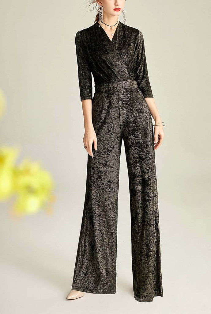 V-neck Gold Velvet Wide Leg Jumpsuit