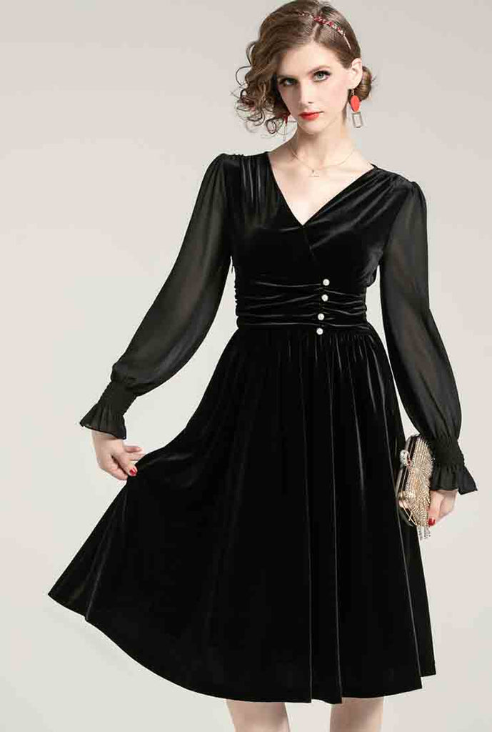 V-neck High Waist Velvet Midi Pleated Dress