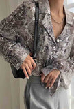 V-neck Lapel Collar Sequined Blouse