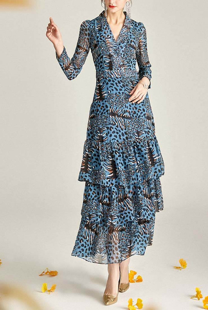 V-neck Leopard Chiffon Tiered Maxi Dress