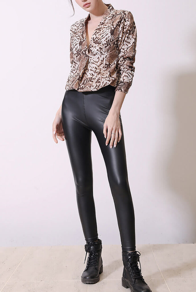 V-neck Leopard Long-sleeved Shirt