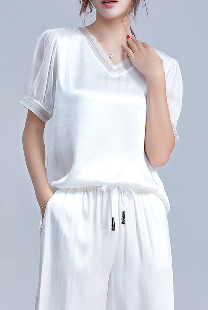 V-neck Loose Chiffon Short Sleeve Shirt