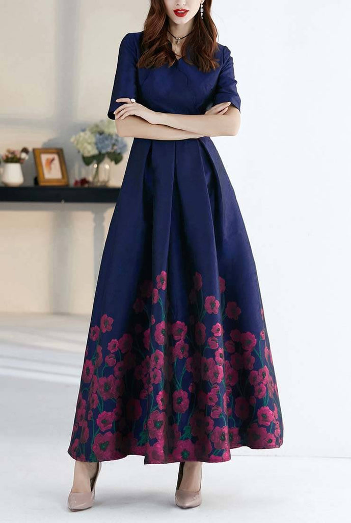 V-neck Luxury Floral  Maxi Party Dress