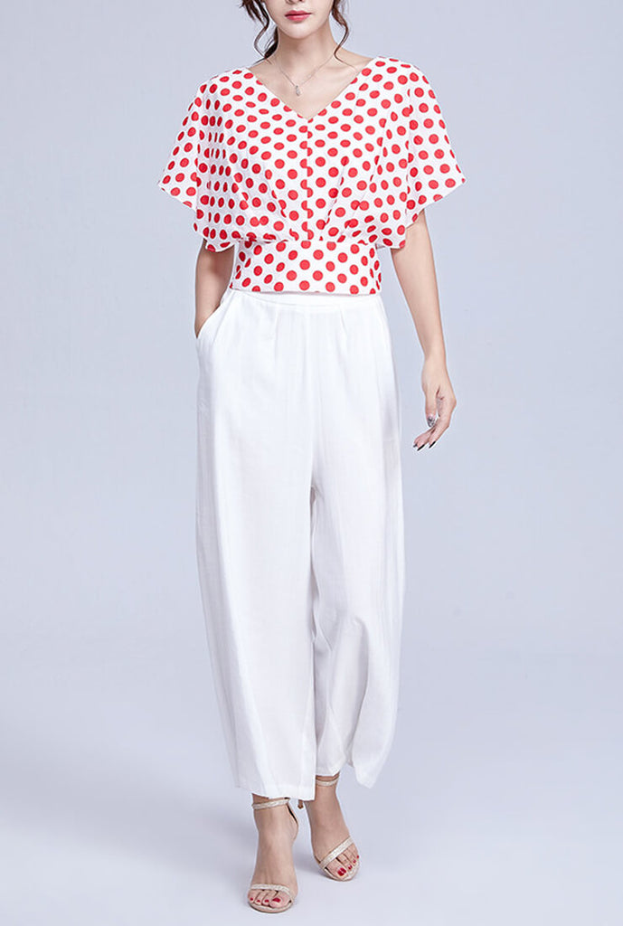 V-neck Polka Dot Short-Sleeved Loose Blouses