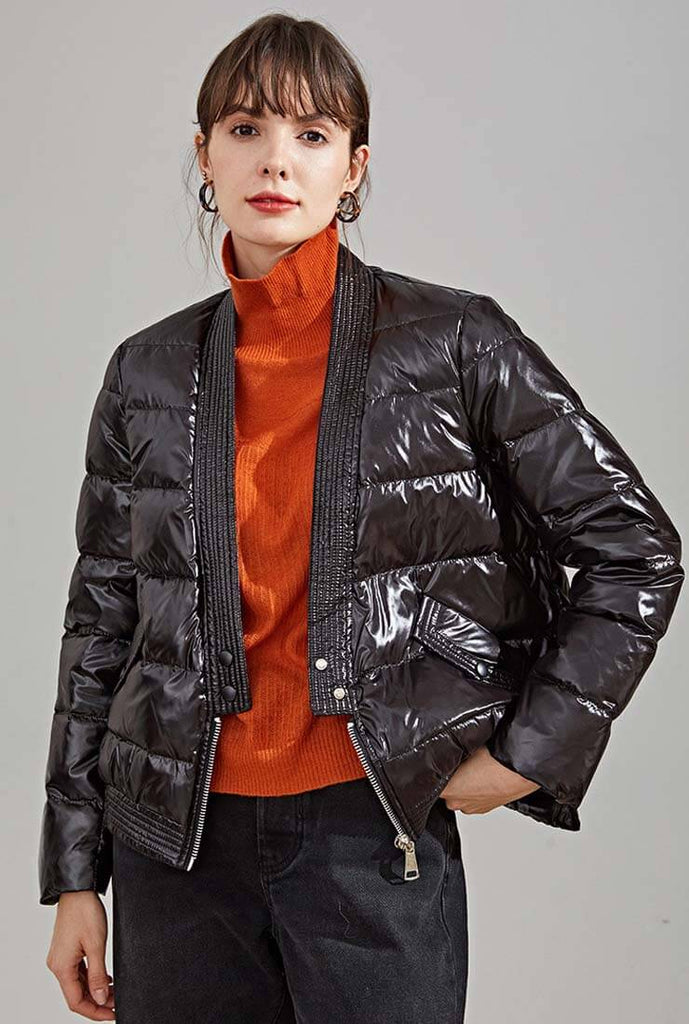 V-neck long Sleeves Thicken Down Puffer Jacket