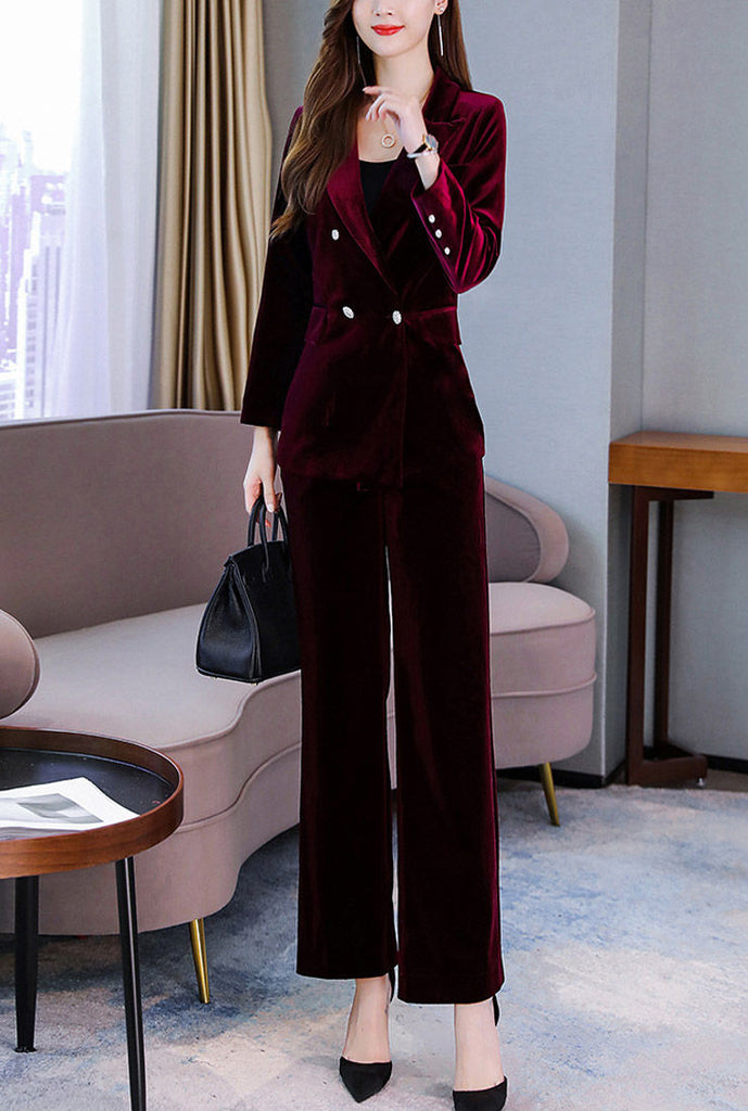 Velvet Deep V-neck Blazer & Straight-Leg Pants Suits