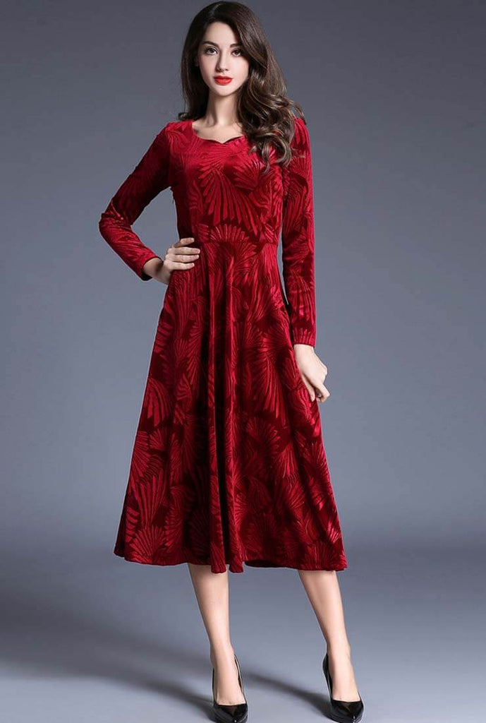 Velvet Floral Print Long Sleeve Maxi Dress