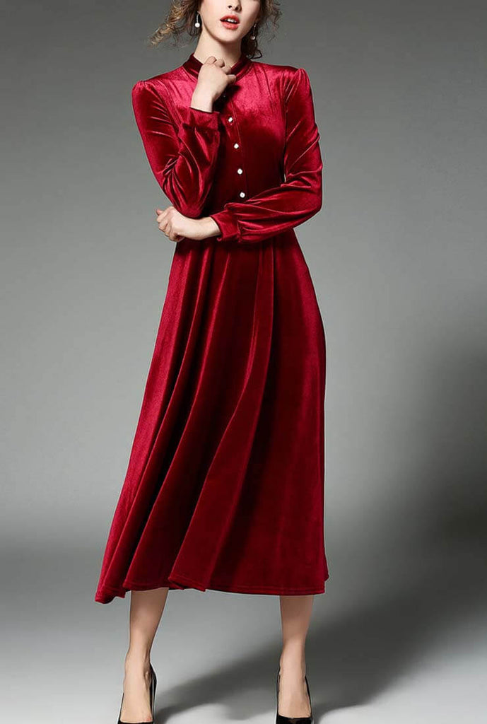 Velvet Lady Long-sleeved Maxi Dress