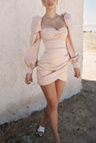 Vintage Puff Sleeves Square Neck Mini Bodycon Dress