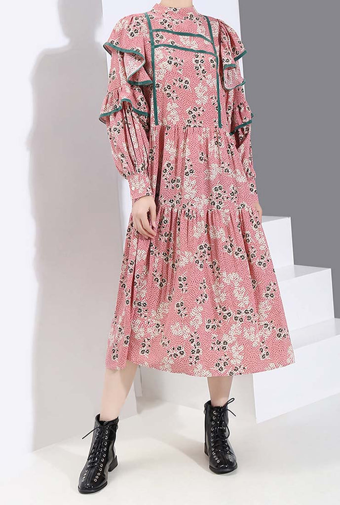 Vintage Stand Collar Tiered Floral Midi Dress