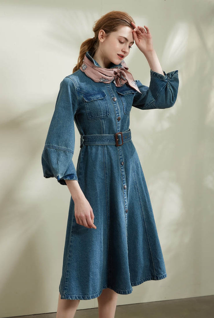 Vintage Denim Shirt Midi Dress