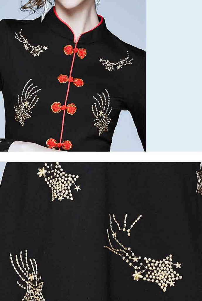 Vintage Embroidered A-Line Midi Dress