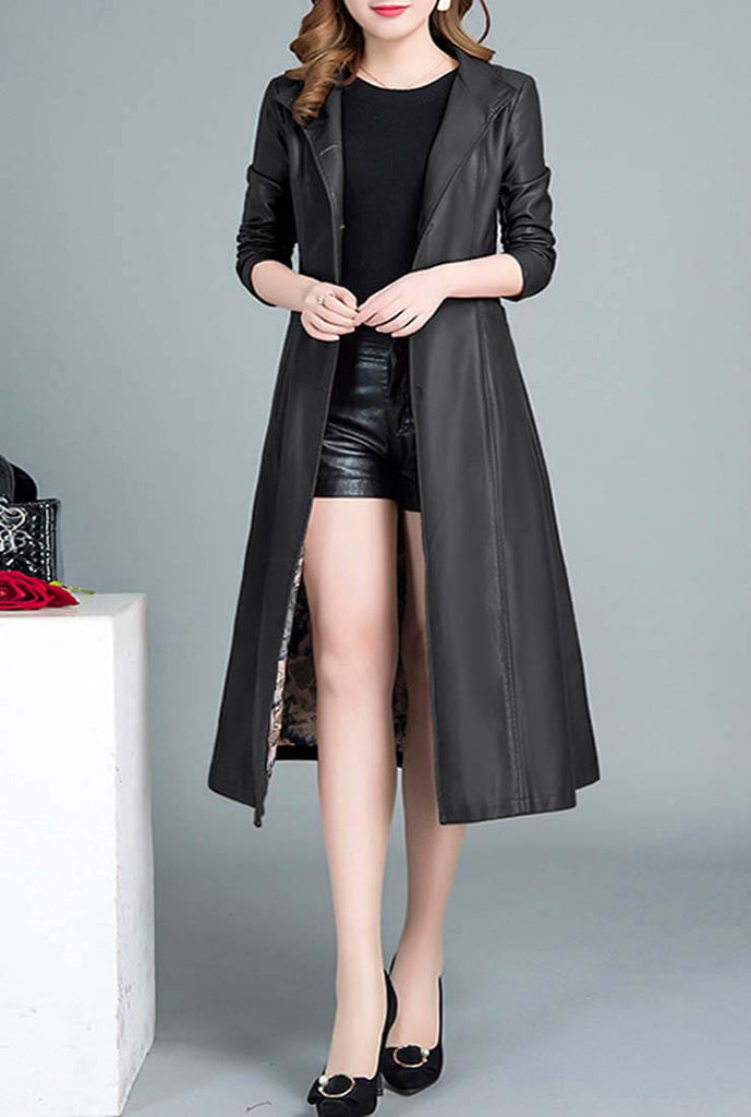 Vintage Faux Leather Trench Long Coat