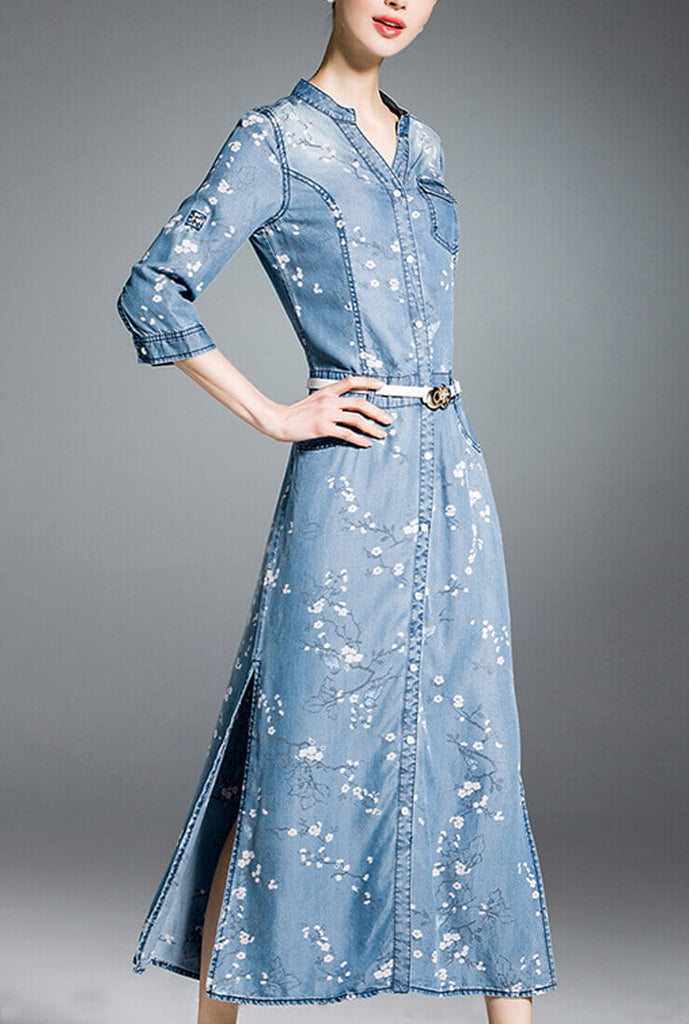 Vintage Floral Print Denim Maxi Dress