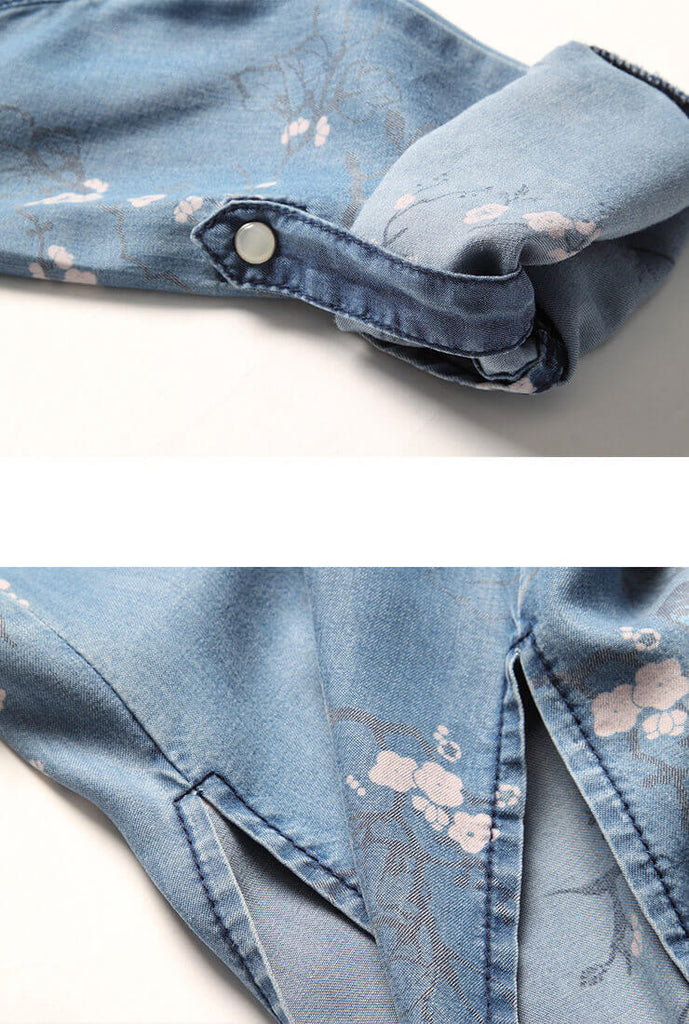 Vintage Floral Tencel Denim Dress
