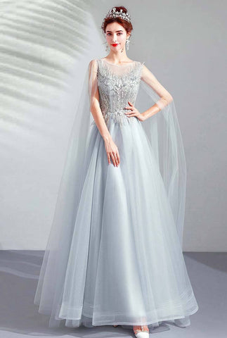 Vintage Lace Embroidered Tiered Tulle Long Prom Dress