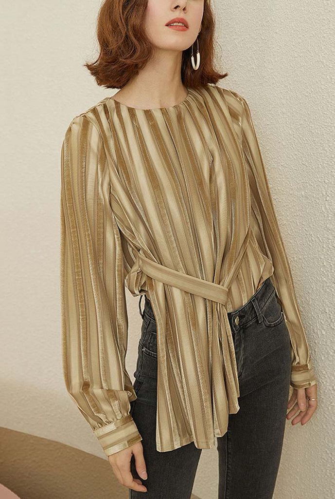 Vintage Long-sleeved Velvet Shirt