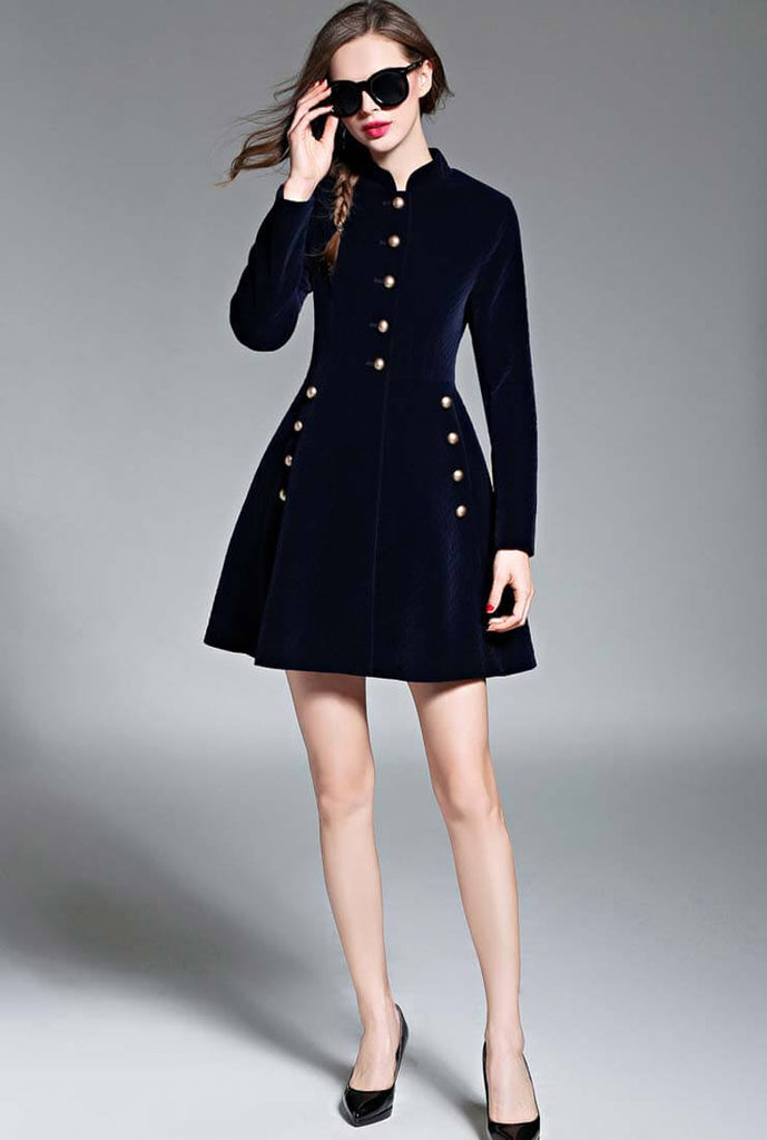 Vintage Velvet Long Sleeve A-line Mini Dress