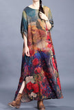 Vintage Loose Shape Floral Print Chiffon Maxi Dress