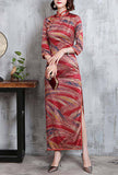 Vintage Printed Side-Slit Stand Collar Cheongsam Dress