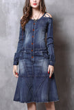 Vintage Ruffled Long-sleeved Denim Dress