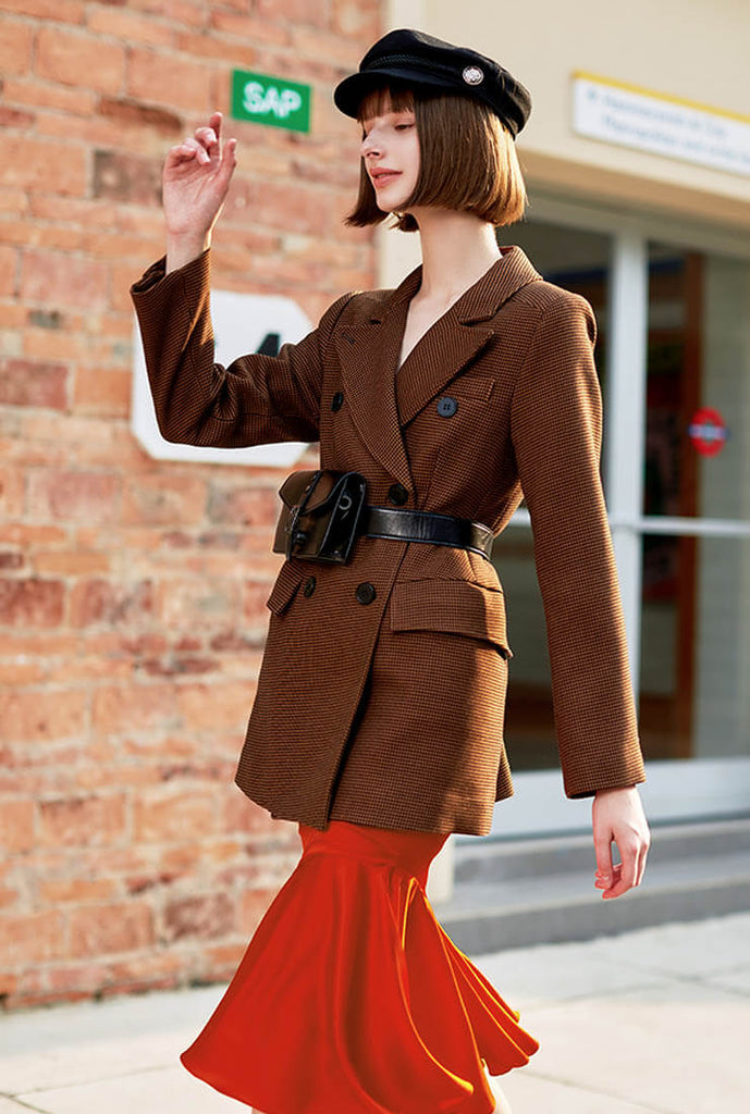 Vintage Slim-length Long-sleeved Woolen Coat