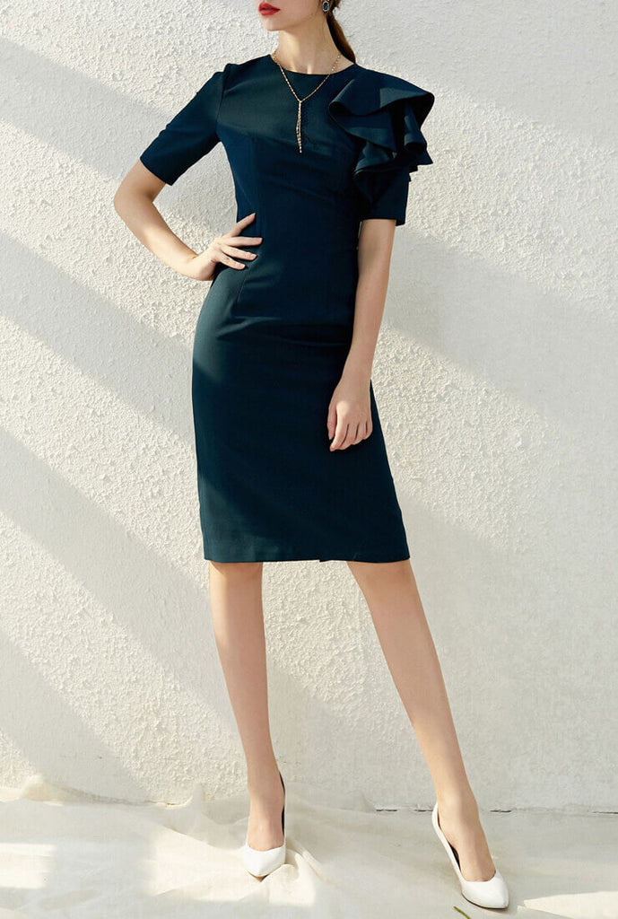 Vintage Slim Midi Bodycon Dress
