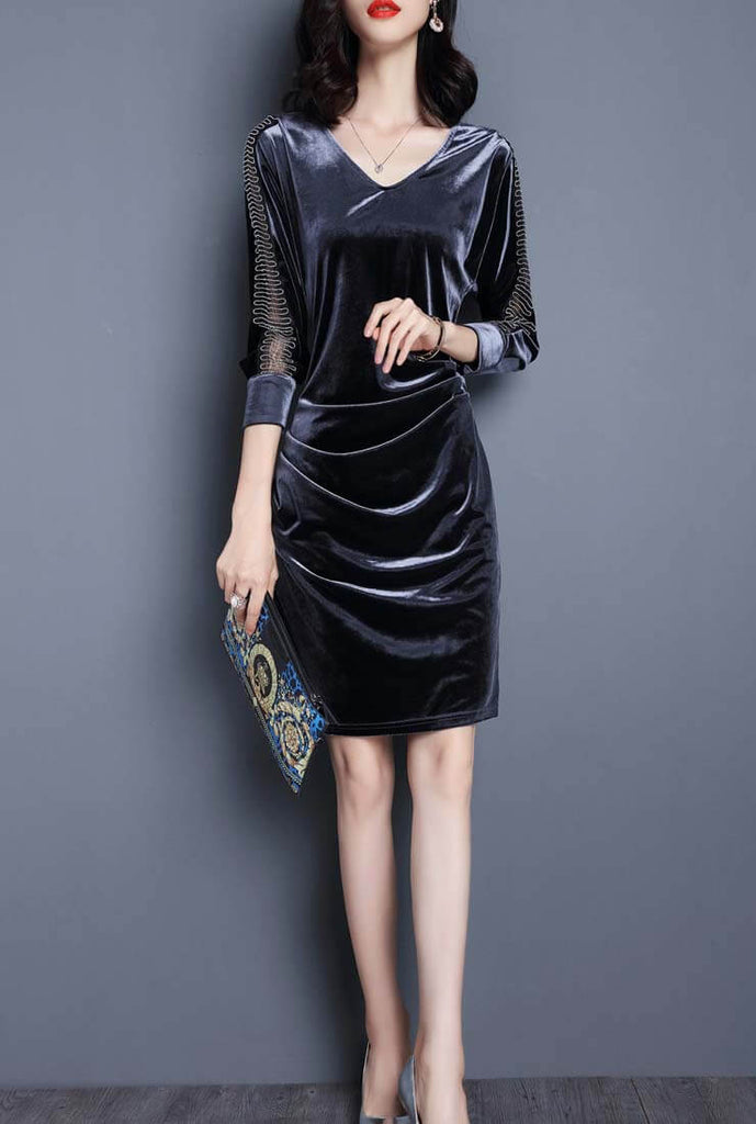 Vintage V-neck Bodycon Velvet Midi Dress