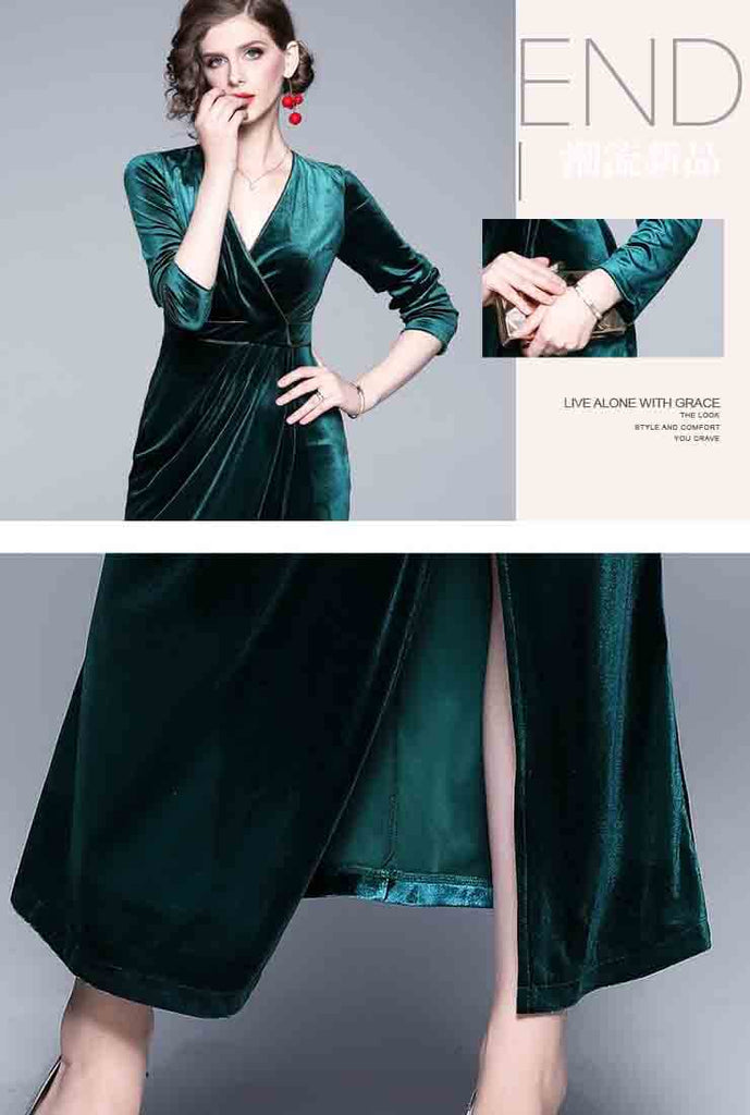 Vintage V-neck Split Velvet Maxi Wrap Dress