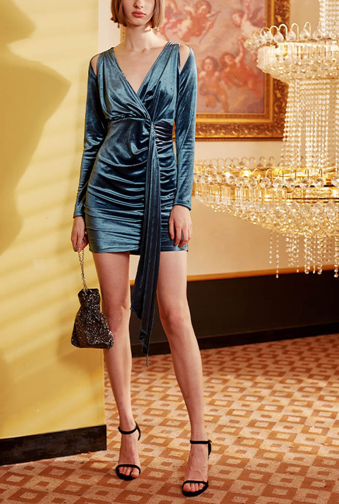 Vintage Velvet V-neck Tight Mini Dress