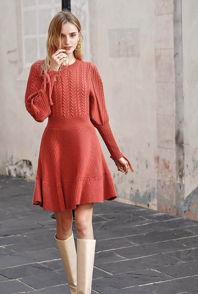 Vintage Waisted Wool Blend Sweater Dress