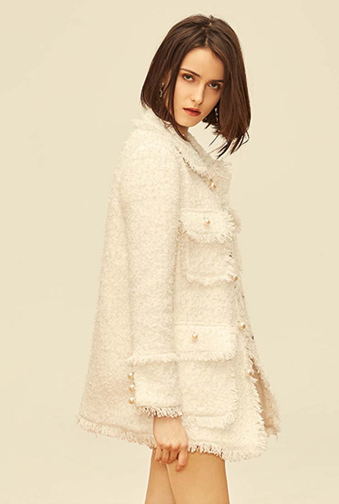 Vintage White Color Tweed Tassels Coat