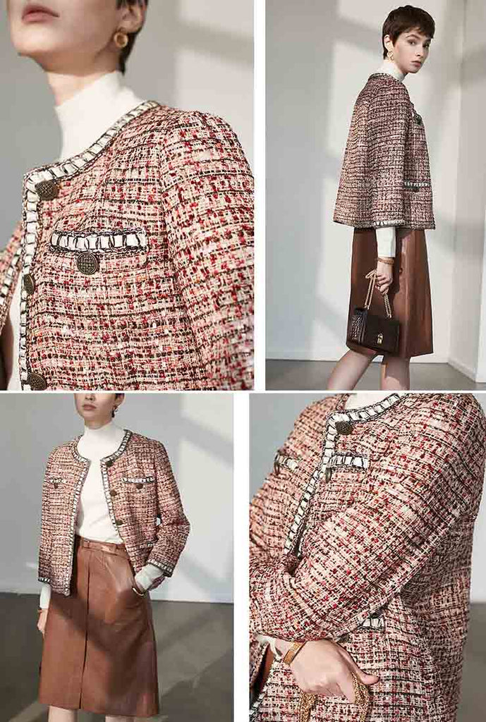 Vintage Women's Classic Red Tweed Jacket