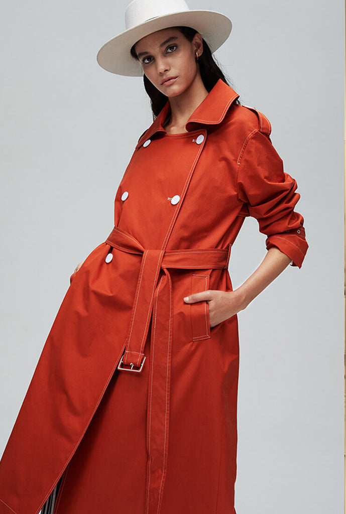 Waist Double Breasted Long Trench Coat