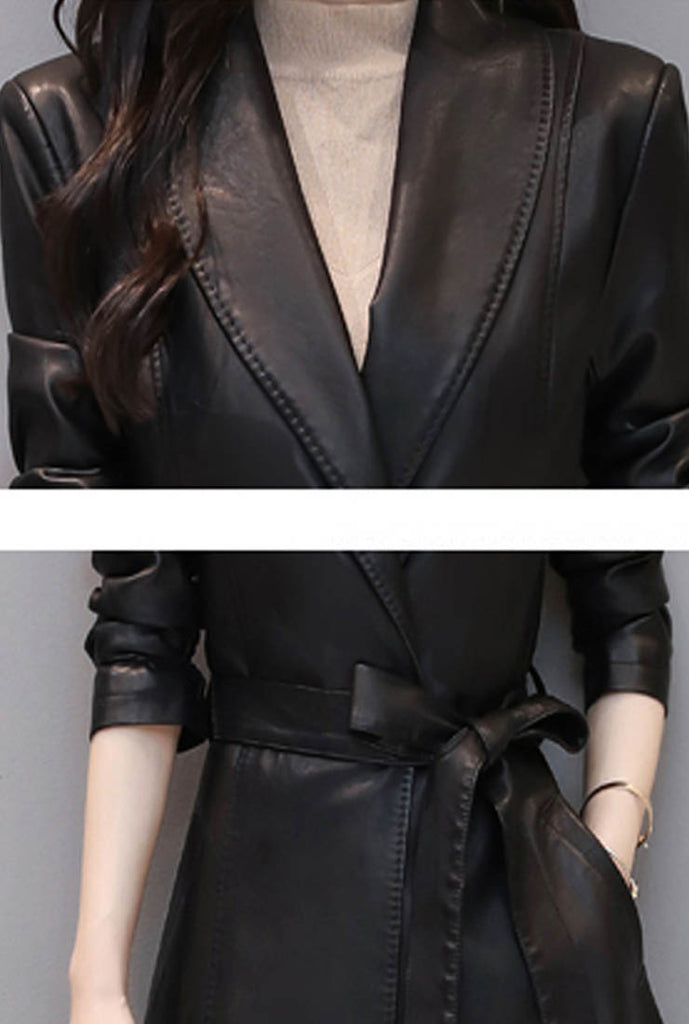Waist Lapel Leather Trench Coat