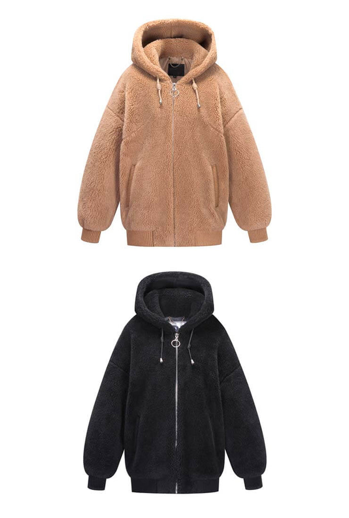 Warm Loose Hooded Teddy Bear Jacket