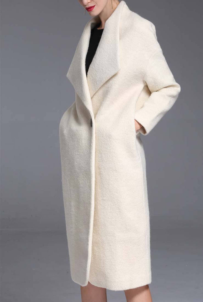 White 100% Wool  Thicken Long Coat