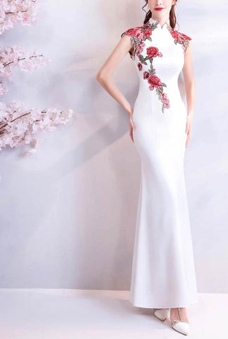 White Embroidered  Evening Long Cheongsam Dress