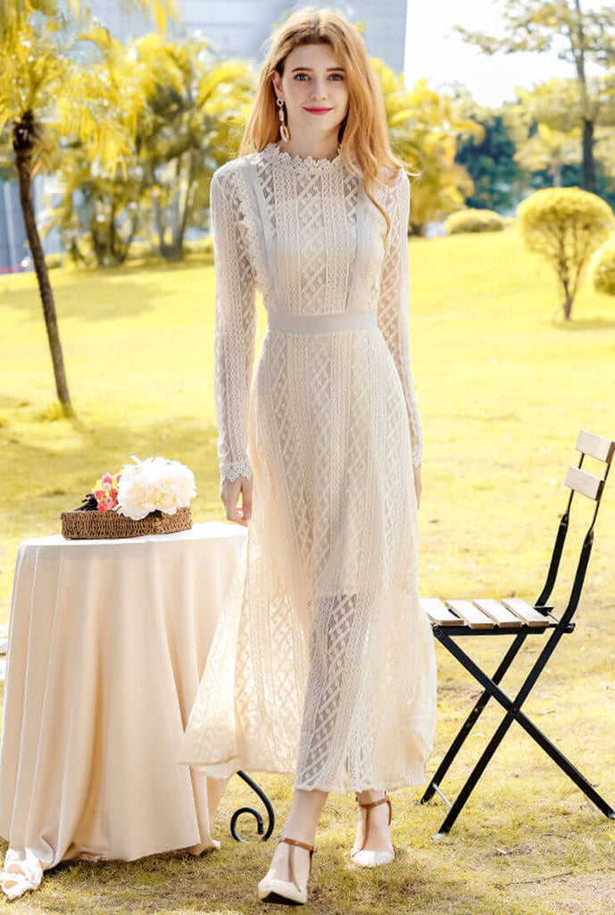 White Lace Long Sleeve Maxi Dress