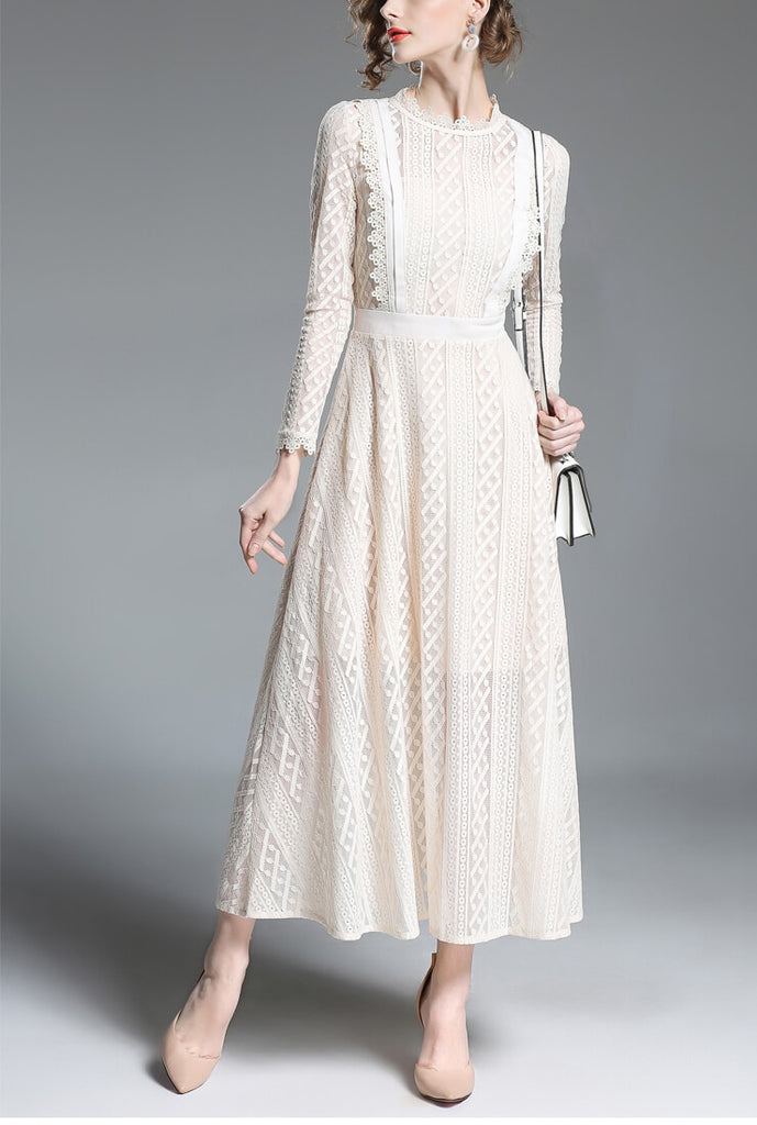 White Lace Waist Maxi Dress