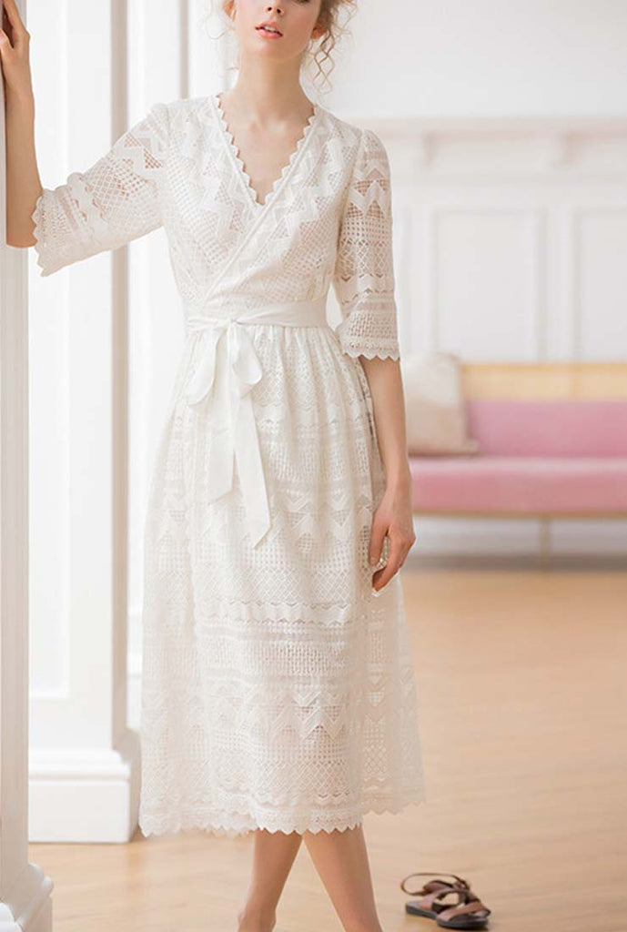 White V-neck Lace Midi Dress