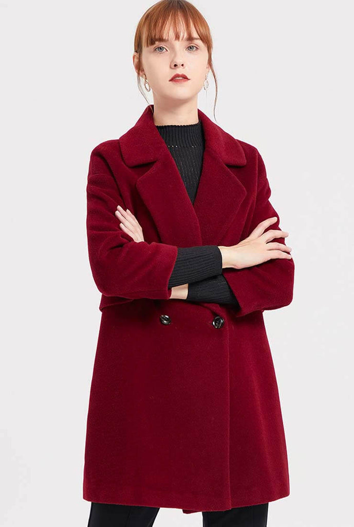 Wine Red Wool Blend Mid-length Coat