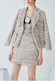 Women Classic Tweed Tassels Lapel Jacket