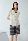 Women Tweed Tassel Beige Vest