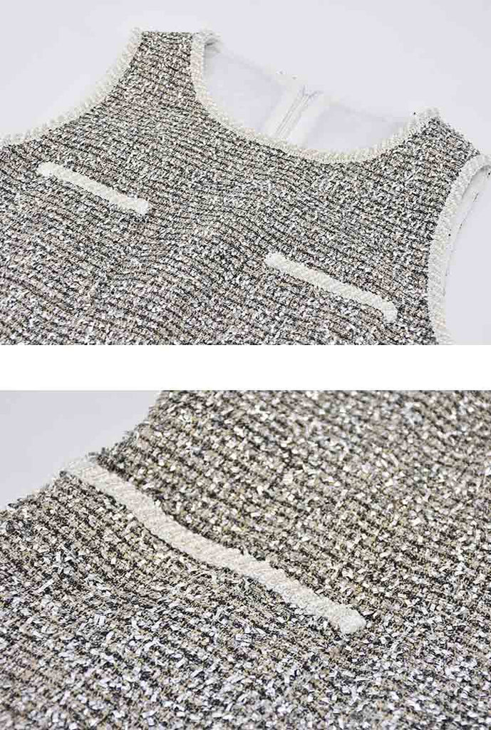 Women's Beaded Bling Tweed Mini Dress