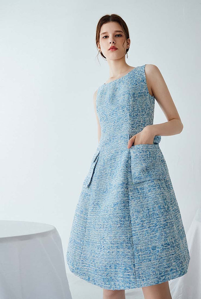 Women's Blue Tweed A-line Mini Dress