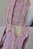 Women's Pink Tassel V-neck Tweed Jacket